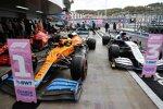 Carlos Sainz (Ferrari), Lando Norris (McLaren) und George Russell (Williams)