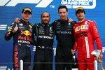 Max Verstappen (Red Bull), Lewis Hamilton (Mercedes) und Carlos Sainz (Ferrari)