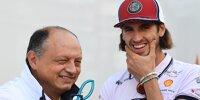 Alfa-Romeo-Teamchef Frederic Vasseur und Antonio Giovinazzi