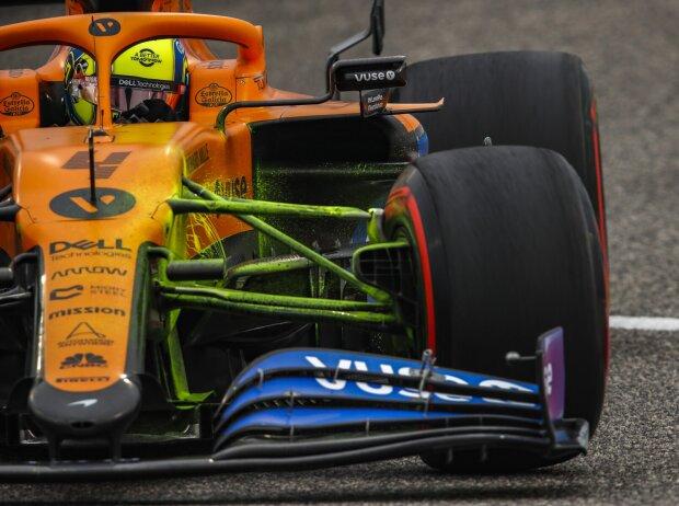 Lando Norris' McLaren MCL35M ist mit FloViz-Farbe bedeckt