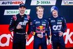 Kelvin van der Linde (Abt-Audi), Liam Lawson (AF-Corse-Ferrari) und Nick Cassidy (AF-Corse-Ferrari)