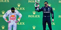 Max Verstappen und Valtteri Bottas auf dem Podium nach dem Formel-1-Rennen in Istanbul 2021