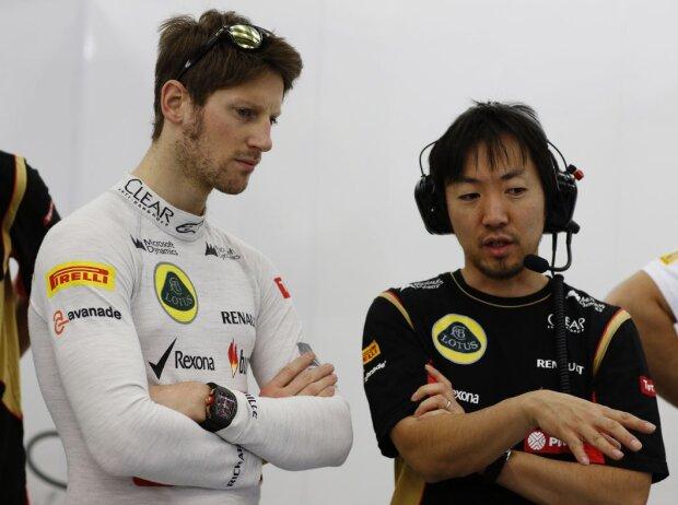 Romain Grosjean und sein Renningenieur Ayao Komatsu bei Lotus
