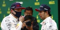 Die beiden Red-Bull-Formel-1-Piloten Max Verstappen und Sergio Perez im Gespräch