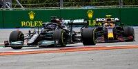 Lewis Hamilton (Mercedes) und Sergio Perez (Red Bull) im Zweikampf bei einem Formel-1-Rennen