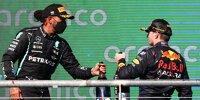 Lewis Hamilton (Mercedes) und Max Verstappen (Red Bull) auf dem Formel-1-Podium in Austin