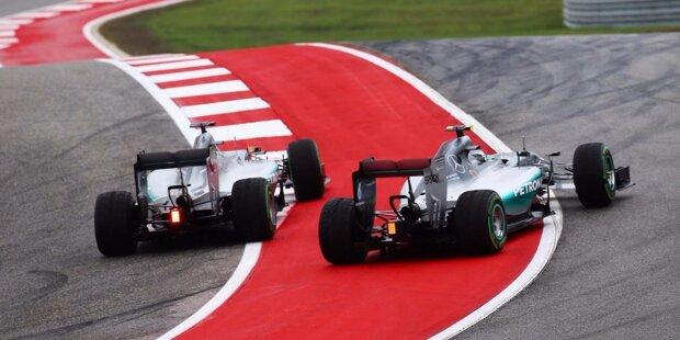 """Lewis Hamilton ist zum dritten Mal Weltmeister - aber über seiner Titelparty in Austin hängt ein kleiner Schatten. Der geschlagene Nico Rosberg schmeißt ihm vor der Siegerehrung die Pirelli-Kappe zurück, spricht später von einer Situation, die ihn """"sehr nervt"""". """"Krieg der Sterne"""", revisited. Und Bilder sagen mehr als tausend Worte."""