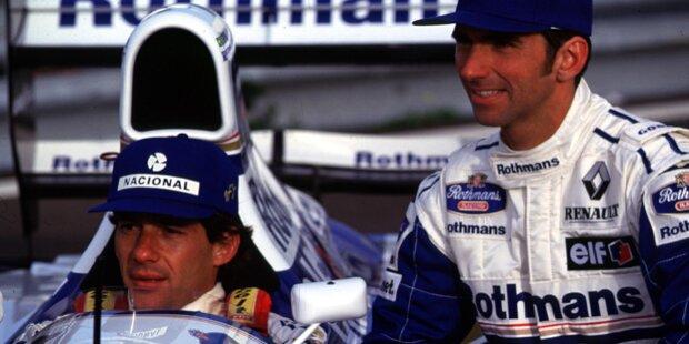 1994: Bei der offiziellen Präsentation des Williams-Teams posieren der dreimalige Formel-1-Weltmeister Ayrton Senna und sein Stallgefährte Damon Hill mit dem FW16.