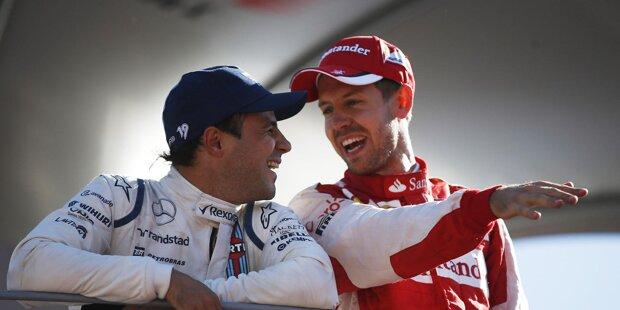 """""""Das ist natürlich sehr schade,"""" bedauert Ex-Teamkollege Kimi Räikkönen Massas Karriere-Ende. """"Aber am Ende ist es seine Entscheidung. Wir hatten eine gute Beziehung als wir in einem Team waren. Natürlich gab es auch einige schwierige Momente in der Formel 1, wie bei seinem Unfall, aber er war immer stark. Er ist ein super Typ."""""""