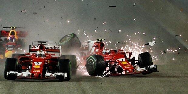 """Wie gewonnen, so zerronnen: Als Favorit ins Wochenende gestartet, platzt Sebastian Vettels Traum vom fünften Sieg in Singapur schon am Start. Jacques Villeneuve findet: """"Daran ist nur er selbst schuld. So fahren die Jungs in der Formel 3."""" In der WM fehlen sechs Rennen vor Schluss plötzlich 28 Punkte auf Lewis Hamilton."""