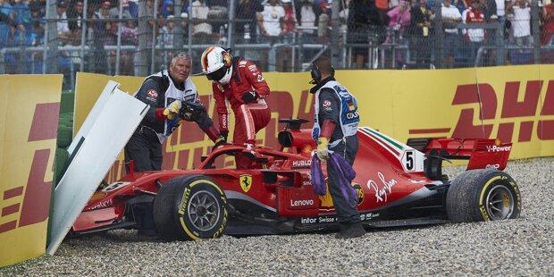 Sebastian Vettel (5): Eigentlich war er auf dem Weg, sich die perfekte Note abzuholen, doch die 52. Runde verändert alles. Es mag nur ein kleiner Fehler sein, doch der gibt den Ausschlag. Denn unter dem Strich steht statt des umjubelten Heimsiegs  der Crash in Führung liegend und null Punkte - so weh es Ferrari auch tut.