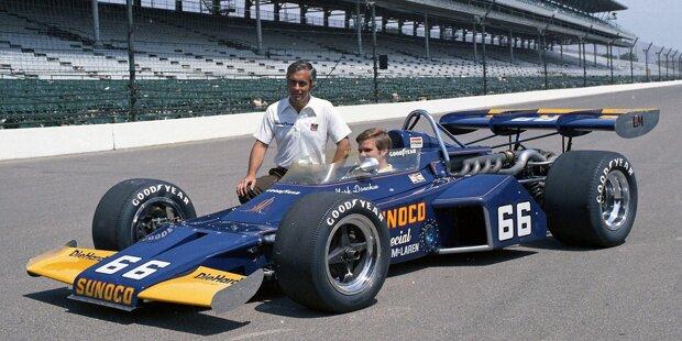 """1972: Mark Donohue holt ersten Indy-Sieg für Penske. """"Gary Bettenhausen führte dieses Rennen für uns an, fiel aber leider aufgrund eines Lecks im Kühlsystem aus. Mark gewann das Rennen. Wir hatten unserem Sponsor Sunoco geschworen, dass wir Indy spätestens im dritten Anlauf gewinnen würden. Tatsächlich schafften wir es im vierten Anlauf."""""""