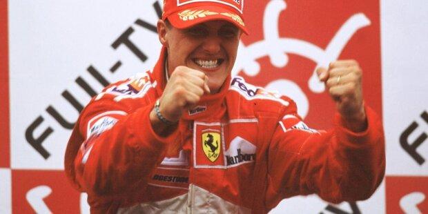Am Ziel der Träume: Michael Schumacher hat die 21-jährige Durststrecke von Ferrari beendet und im Jahr 2000 in Suzuka in Japan den Formel-1-WM-Titel für das italienische Traditionsteam gewonnen! Hier sind die Bilder von damals!