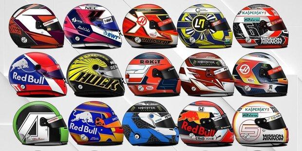 Vieles ist neu in der Formel 1 2019, auch die Helmdesigns einiger Piloten. Wir stellen die neuen Farben der Fahrer vor, sortiert nach Startnummern von klein nach groß!
