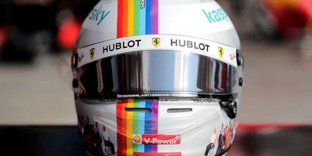 Der neue Formel-1-Helm von Ferrari-Fahrer Sebastian Vettel: Statt der Deutschland-Flagge zieht sich nun ein Regenbogen über den Kopfschutz, den ...