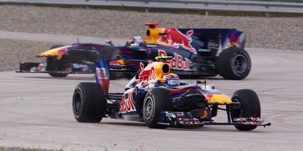 Die Red-Bull-Teamkollegen Webber und Vettel kämpfen in Istanbul um die Führung.