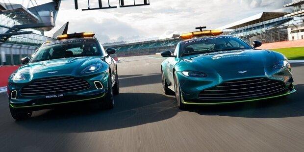Aston Martin und Mercedes teilen sich 2021 den Einsatz von Safety- und Medical-Car. Während die Aston-Martin-Autos ein traditionelles Grün erhalten haben, werden die Mercedes-Wagen in diesem Jahr rot!