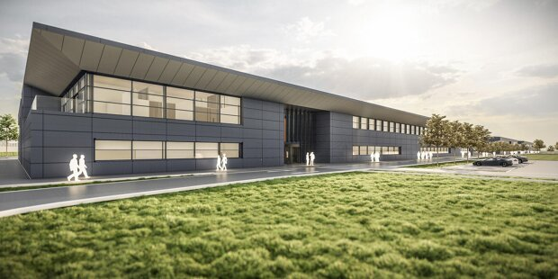 So wird sie aussehen, die neue Fabrik des Aston-Martin-Teams in Silverstone.