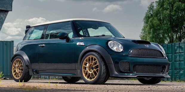 Powerflex introduces a crazy V8-powered Mini Cooper that sends power to the rear wheels at Goodwood.
