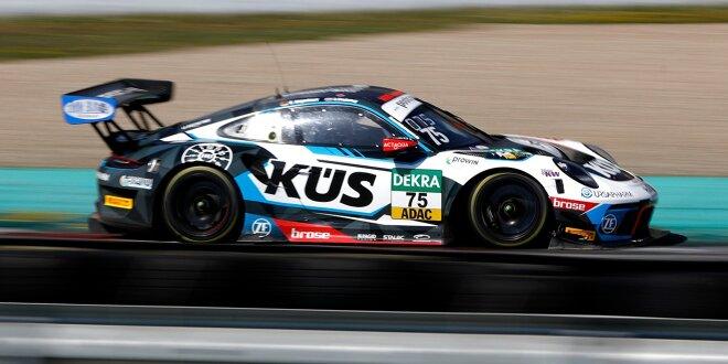 Abflug des Zakspeed-Mercedes kurz vor Schluss -  Testbestzeit für Bernhard-Porsche