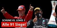 91 Formel-1-Siege: Michael Schumacher vs. Lewis Hamilton
