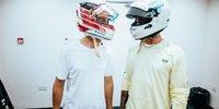 Helmtausch zwischen Hamilton & Vettel