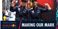 Ricciardo & Verstappen an der Spraydose